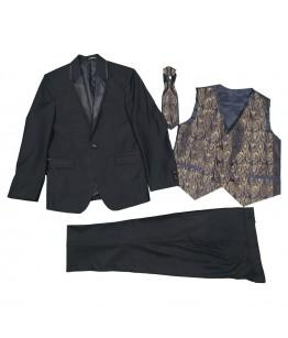Costum baieti, 4 piese, 3-10 ani, 98-140 cm, stofa, negru, JuliaKids, 25667