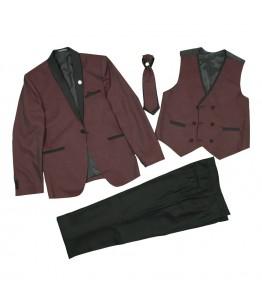 Costum baieti, 4 piese, 9-13 ani, 134-158 cm, stofa, grena, JuliaKids, 25669