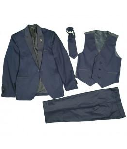 Costum baieti, 4 piese, 9-13 ani, 134-158 cm, stofa, bleumarin, JuliaKids, 25670