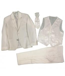 Costum baieti, 4 pise, 7-13 ani, 122-158 cm, stofa, alb, Juliakids, 25671