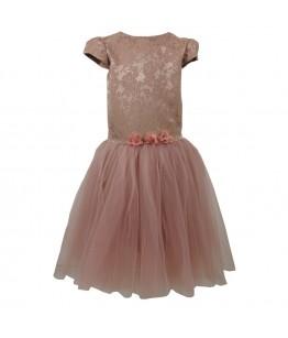 Rochie ocazie pentru fete, Andra, brocart si tulle, roz pudra, 11-13 ani, 146-158 cm cm