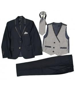 Costum baieti, 4 piese, 3-10 ani, 98-140 cm, bleumarin, stofa, JuliaKids, 25679