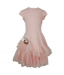 Rochie midi fete, 6-10 ani, 116-140 cm, brocart, roz somon, JuliaKids, 25699