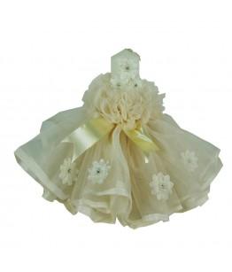 Lumanare pentru botez, fete, crem cu flori