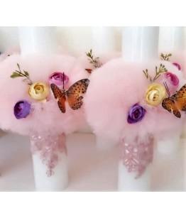 Lumanare botez de fete, roz, flori, fluturas, 26711