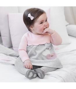 Rochita fetita, 2-9 luni, 56-74 cm, bumbac, roz/gri, Mayoral, 26845