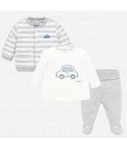 Compleu nou nascut, baiat, 1-6 luni, 56-68 cm, 3 piese, bumbac, gri, Mayoral, 26855