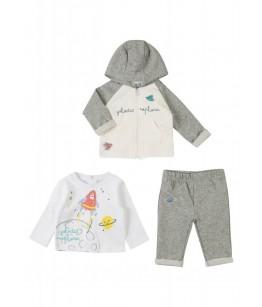 Compleu nou-nascut, baiat, 0-9 luni, 50-74 cm, 3 piese, bumbac, Losan, 26872