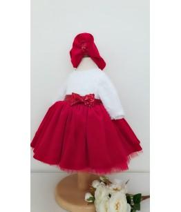 Rochie ocazie pentru fata, 3-12 ani, 98-152 cm,  catifea rosie, Colibri, 27000