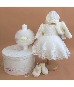 Rochie cu trena de ocazie fetite, 3-12 ani, ivoire, Colibri, 27015